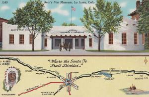 Route 50 Highway To Pueblo & Denver Bents Ford Museum La Junta Map Postcard