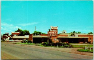 Minden, Nebraska Postcard PIONEER VILLAGE Motor Lodge Motel Highway 6 Roadside