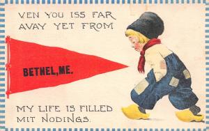 My Life is Filled Mit Noddings in Bethel Maine~Sad Boy~1912 Pennant Postcard