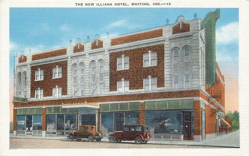 Whiting Indiana New Illiana Hotel Lunch Cafe Vintage 1920s Cars Postcard