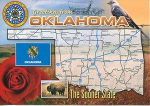 OKLAHOMA - THE SOONER STATE - MAP POSTCARD [4680]
