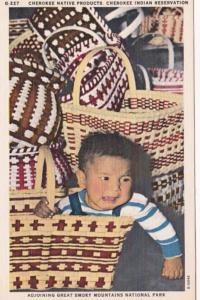 North Carolina Cherokee Indian Reservation Papoose & Baskets Cherokee Native ...