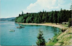 Willingdon Beach Powell River BC UNUSED Vintage Postcard D97