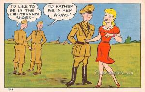 Military Comic Postcard, Old Vintage Antique Post Card Her Arms Unused