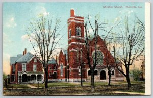 Rushville Indiana~Corner tower on Christian Church~Folk Victorian Parsonage