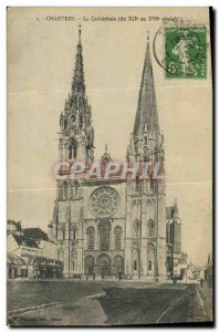 Old Postcard Chartres The Cathedral