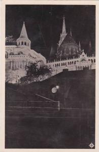 Hungary Budapest Fishermans Bastion Illuminated Real Photo