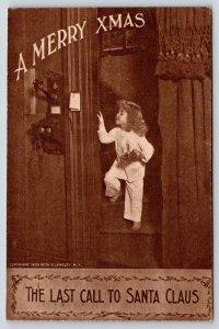 Victorian Christmas~Girl Last Call~Santa Claus~Vintage Wall Telephone~1909 Sepia