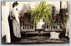 Colorized RPPC~Greenhouse? Display~Big Green Fern~Red Carnations~Flowers~c1912