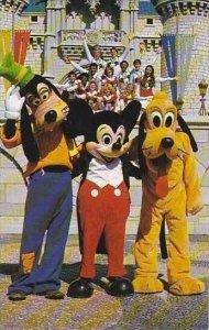 Florida Orlando Goofy Mickey and Pluto Pose Walt Disney World Disneyana