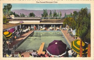Famed Racquet Club at Palm Springs CA Gala Swimming Pool Linen Postcard Unused