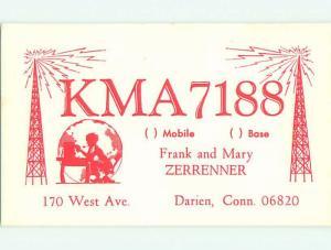 comic - QSL CB HAM RADIO CARD Darien Connecticut CT t9559