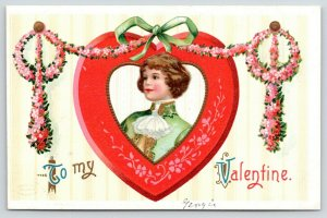 Clapsaddle Valentine~Young Man In Pink Red Wood Heart~Flower Garland~Wallpaper