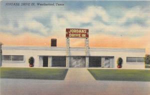 Texas Tx Postcard Linen WEATHERFORD Jordan's Drive In Roadside