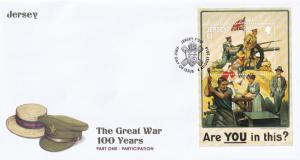 Jersey Post The Great War WW1 100 Years Participation First Day Cover