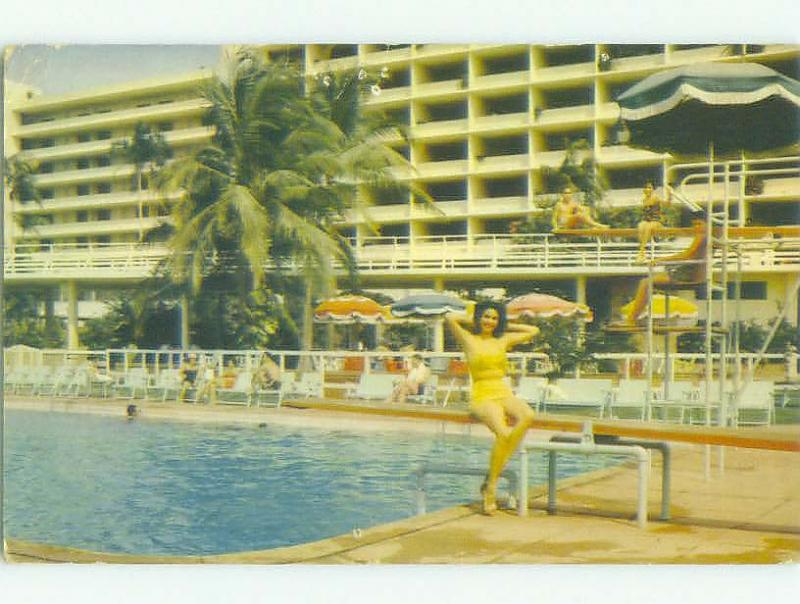 Pre-1980 risque BATHING SUIT GIRLS AT PANAMA HOTEL Panama City PANAMA HQ1672