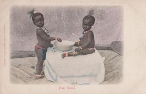 Africa African Children Making Porridge Cake Cereal Food Kitchen Old Postcard