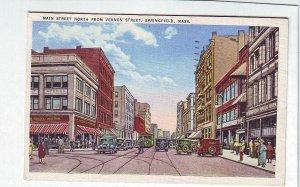 P1310 1936 used postcard main street old cars trolly people springfield mass