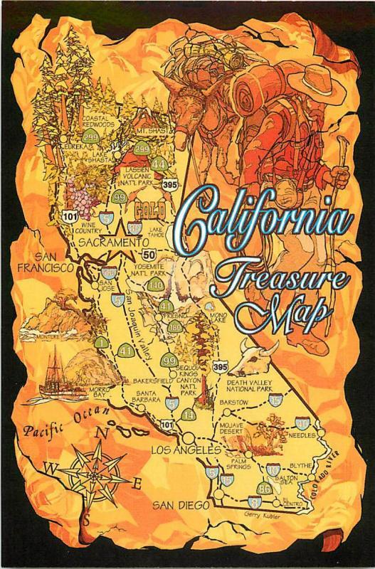 California Map Cartoon.Postcard Of California Treasure Cartoon State Map Hippostcard