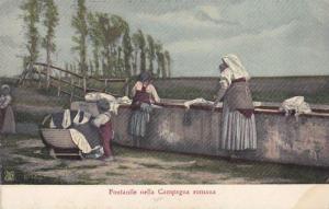 Women doing Laundry , Fontanile nella Campagna romana , Italy , 00-10s
