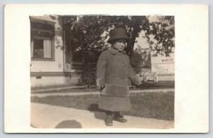 Hillsboro Home Folk~Donald M Barringer~First Overcoat~Lime Cement Adv~c1912 RPPC