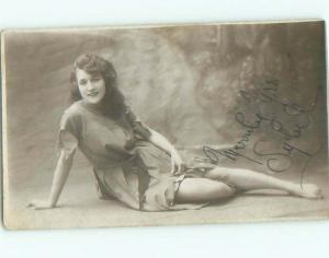 rppc 1920's Risque PRETTY GIRL SENDS SEXY SIGNED PICTURE - MERRILY YOURS AC8837