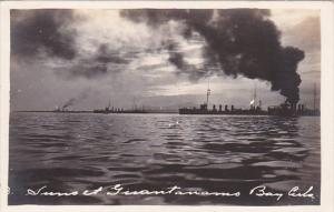 Cuba Guantanamo Bay Sunset With Battleships In Background Real Photo
