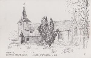Greensted St Andrew Church Ongar 1970s Drawing Postcard