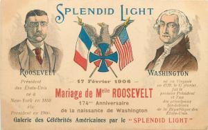 Miss Alice Roosevelt Marriage Washington 1906 Litho SPLENDID LIGHT eagle flags