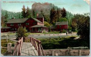 Lake Tahoe, California Postcard GLENBROOK INN Hotel / Rustic Bridge 1910 Cancel