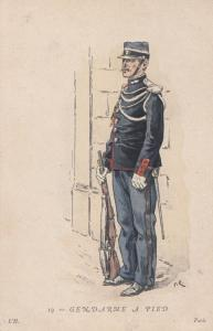 Gendarme A Pied Paris Soldier Antique Uniform French Military Postcard