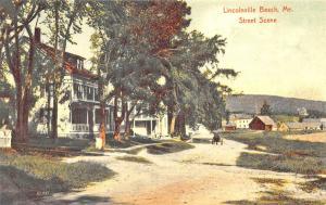 Lincolnville Beach ME Dirt Road Houses Horse & Wagon Postcard