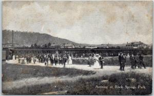 Chester West Virginia Postcard Arriving at Rock Springs Park Train View c1910s