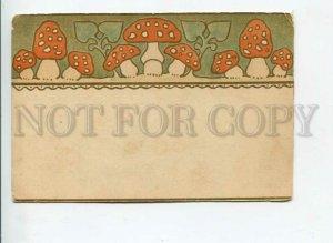 3170466 ART NOUVEAU Amanita Mushrooms RUSSIAN MOTIVE vintage PC