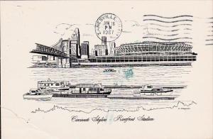 Ohio Cincinnati Skyline Riverfront Stadium 1987