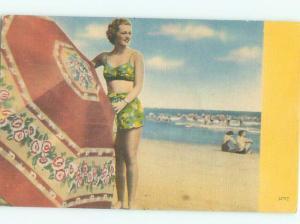 Linen Risque SEXY BIKINI GIRL WITH LARGE BEACH UMBRELLA AB6672