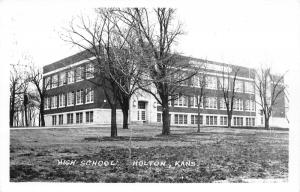 Holton Kansas~High School Building~Bare Trees in Front~1940s RPPC Postcard