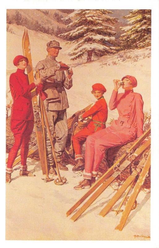 Nostalgia Postcard Burberrys 1926 Winter Sports Fashion Advert Repro Card NS31