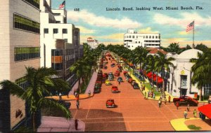 Florida Miami Beach View Along Lincoln Road Looking West