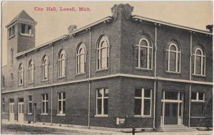 Michigan MI Postcard c1910 LOWELL City Hall Building