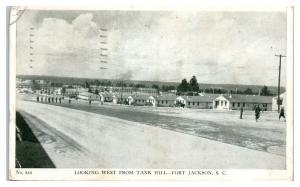 1942 Fort Jackson, SC, Looking West from Tank Hill Postcard *5E4