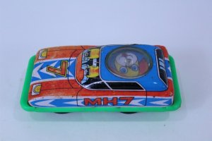 Vintage Toy Tin Car with Working Spinner Top