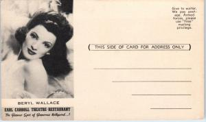 HOLLYWOOD, CA  2  Postcards of BERYL WALLACE Earl Carroll THEATRE c1940s
