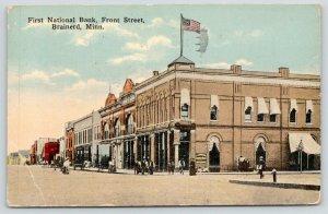 Brainerd Minnesota~Front Street~First National Bank~Basement Barber Shop~1914 PC