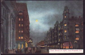 P1412 old unused postcard full moon main street night los angeles calif