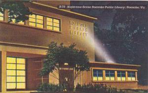 Night-time scene Roanoke Public Library, Roanoke, Virginia,  30-40s