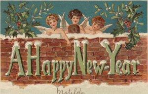 NEW YEAR, 1908; Cherubs leaning on brick wall, Happy New Year