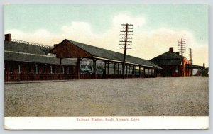 South Norwalk Connecticut~Railroad Station~Train Under Shed at Depot~c1905 PC