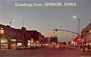 Spencer Iowa~Main Street Night Lights~Rexall Drug~Guys on Corner~1960-70s Cars