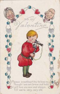 to my Valentine, Poem, Old couple looking at each other, boy using a telephon...